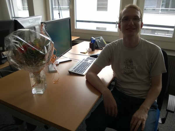 My new office with welcome flowers