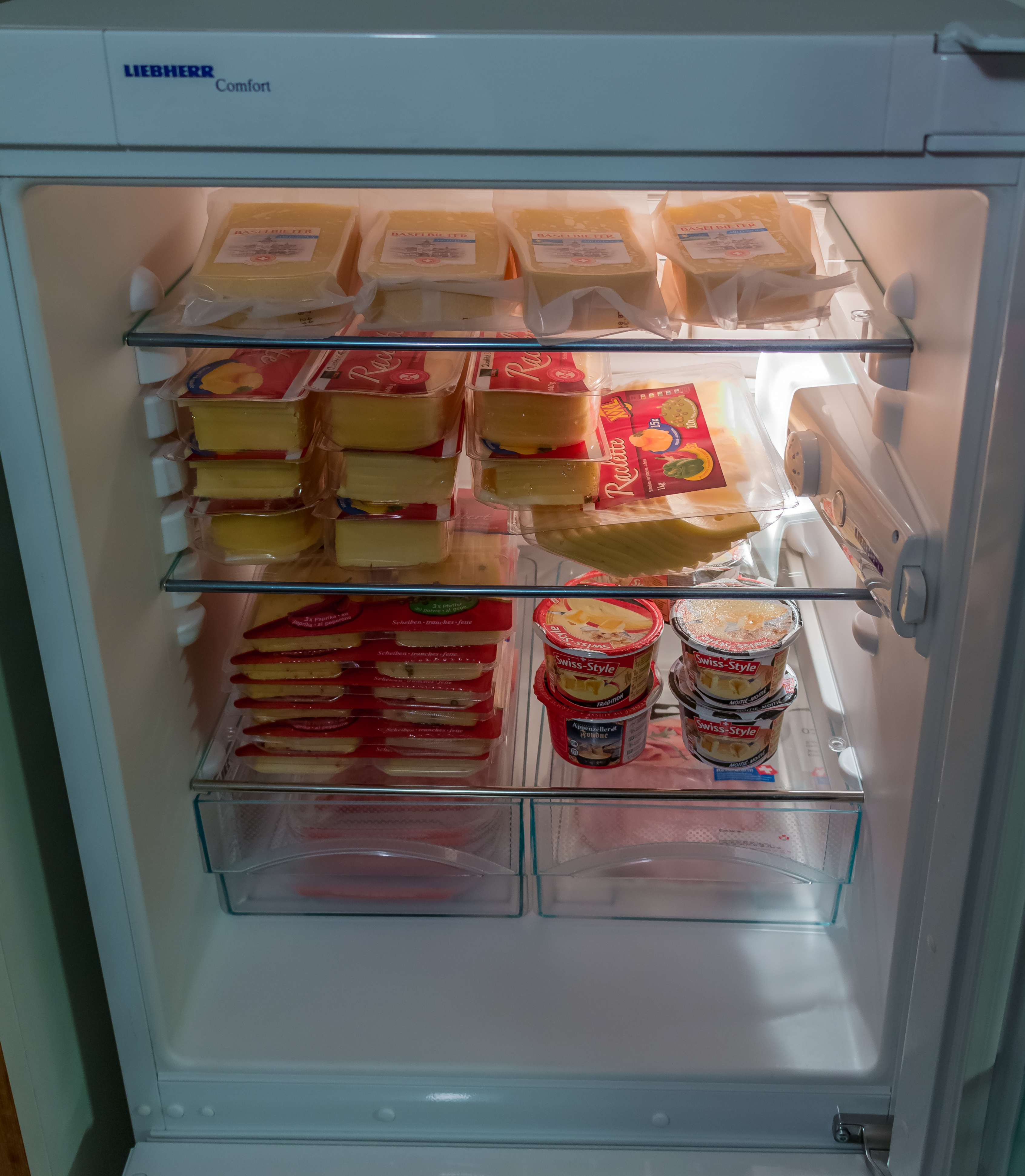 Swiss souvenirs in the fridge at home
